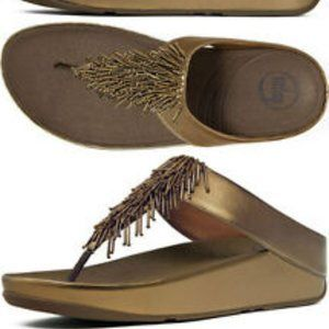 Fitflop Chacha Bronze Beaded Leather Sandal